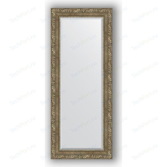 Зеркало с фацетом в багетной раме поворотное Evoform Exclusive 55x135 см, виньетка античная латунь 85 мм (BY 3515)