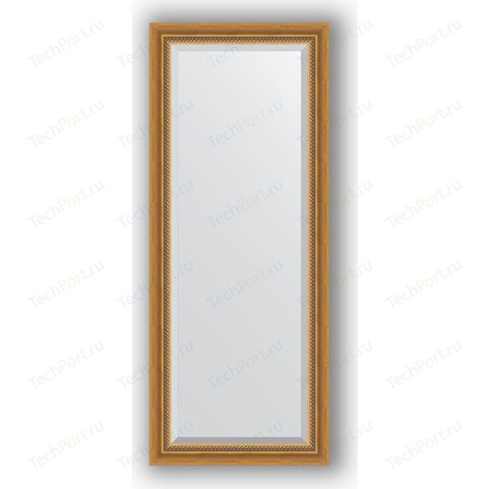 Зеркало с фацетом в багетной раме поворотное Evoform Exclusive 58x143 см, состаренное золото плетением 70 мм (BY 3535)