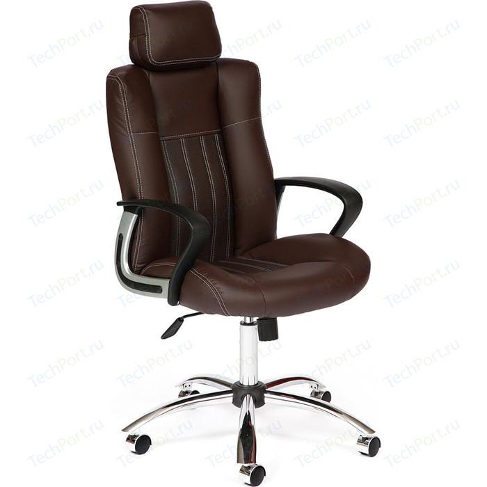 Кресло TetChair OXFORD хром кож/зам, коричневый/коричневый перфорированный, 36-36/36-36/06