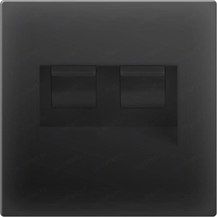 Розетка двойная Ethernet RJ-45 Werkel черный матовый WL08-RJ45+RJ45
