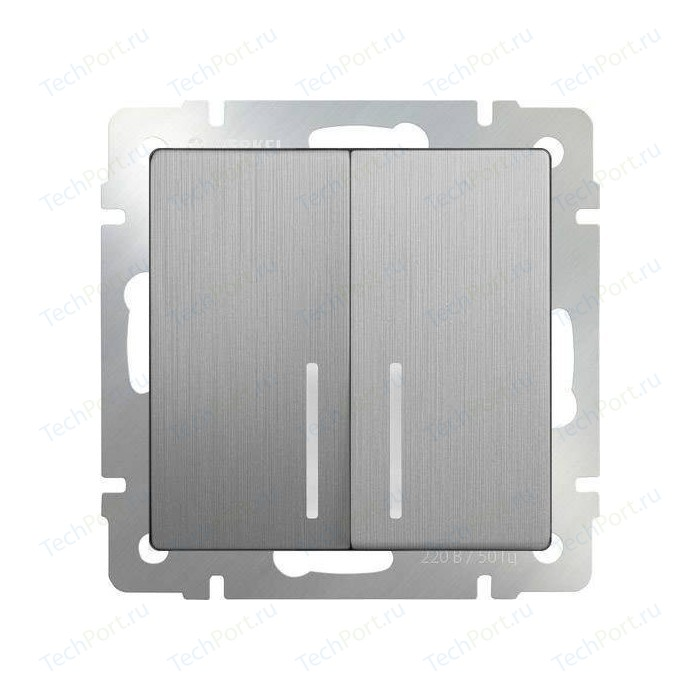 Выключатель двухклавишный Werkel серебряный рифленый WL09-SW-2G-LED