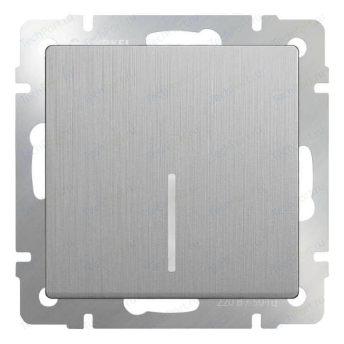 Выключатель одноклавишный проходной Werkel серебряный рифленый WL09-SW-1G-2W-LED