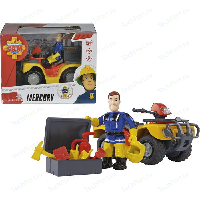 Квадроцикл Simba Пожарный Сэм - Меркурий со светом + фигурка и акс., 11*16*12см
