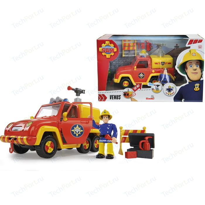 Машина Simba Пожарный Сэм - со звуком и функцией воды, 19см + фигурка