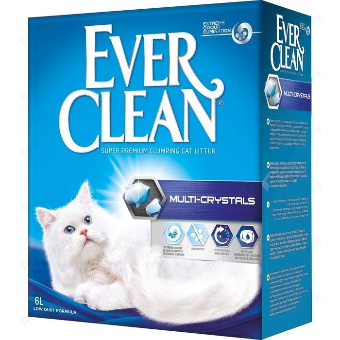 Наполнитель Ever Clean Multi Crystals с кристаллами для контроля запаха комкующийся без ароматизатора кошек 6л