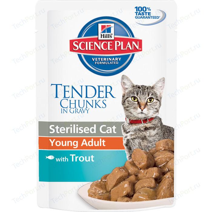 Паучи Hills Science Plan Optimal Care Young Adult with Trout с форелью для стерилизованных кошек от 6 мес до лет 85г (3767)