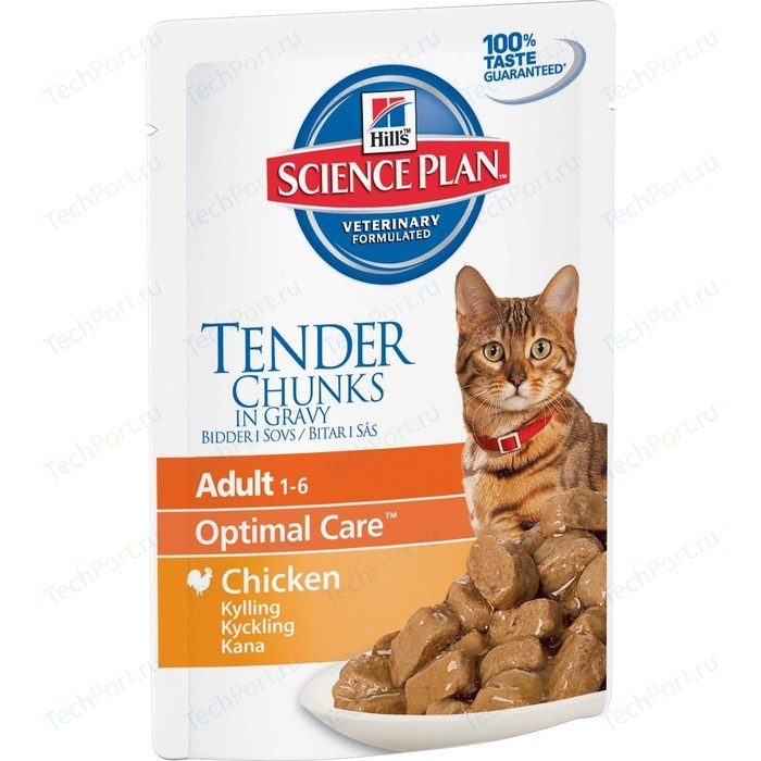 Паучи Hills Science Plan Optimal Care Adult Chicken Chunks in Gravy с курицей кусочки в подливке кошек 85г (2104)
