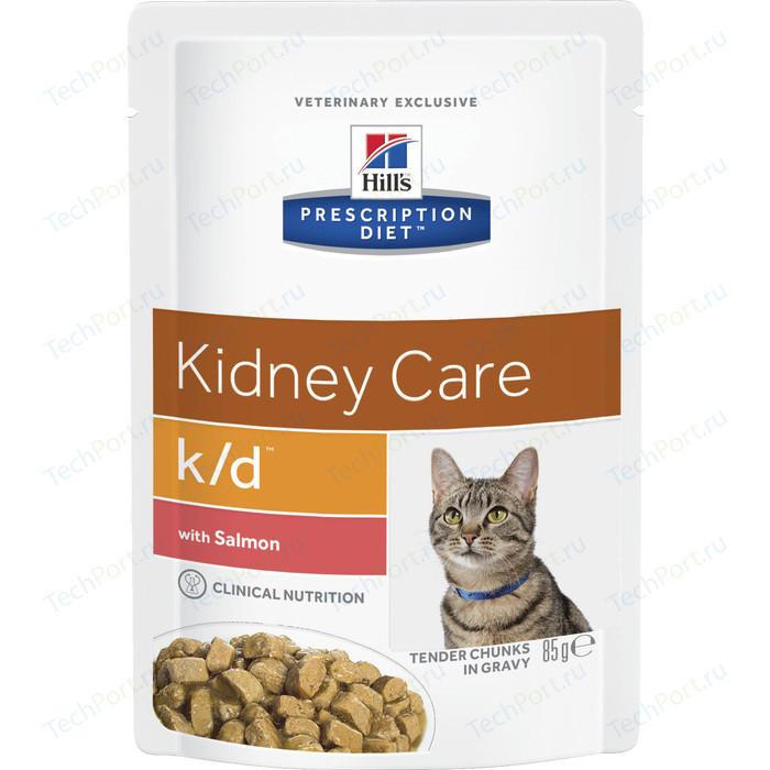 Паучи Hills Prescription Diet k/d Kidney Care with Salmon с лососем диета при лечении заболеваний почек и МКБ для кошек 85г (3410)