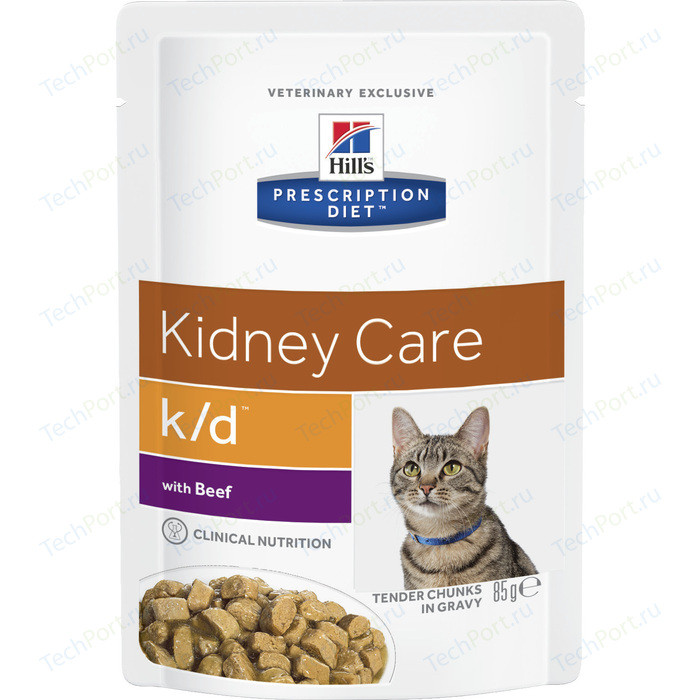 Паучи Hills Prescription Diet k/d Kidney Care with Beef с говядиной диета при лечении заболеваний почек и МКБ для кошек 85г (3411)