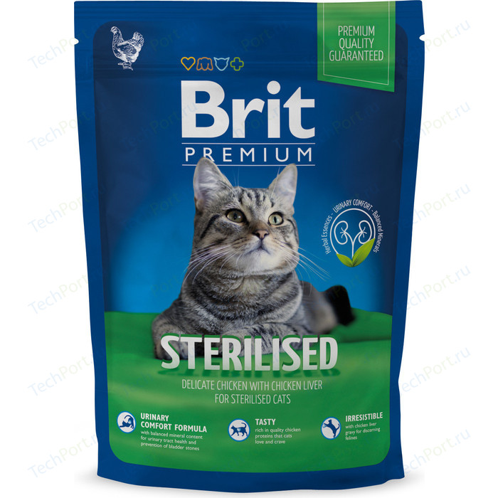 Сухой корм Brit Premium Cat Sterilized с курицей в соусе и куриной печенью для стерилизованных кошек 1,5кг (513161)