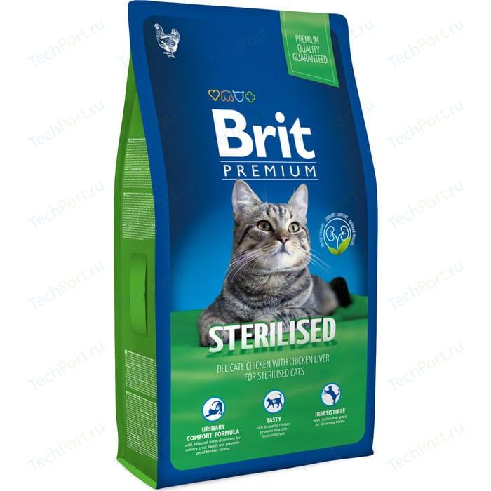 Сухой корм Brit Premium Cat Sterilized с курицей в соусе и куриной печенью для стерилизованных кошек 8кг (513178)