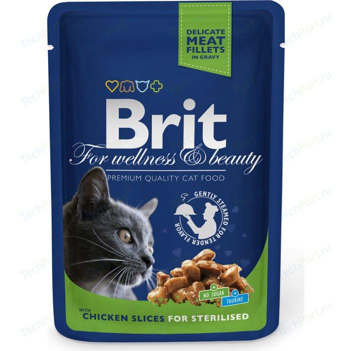 Паучи Brit Premium Cat Chicken Slices for Sterilised с кусочками курицы для стерилизованных кошек 100г (100310)