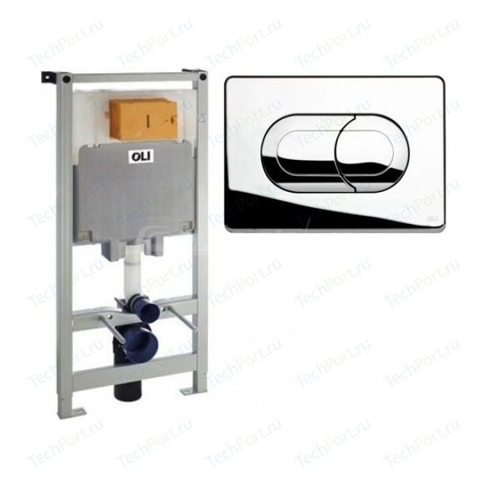 Инсталляция для унитаза OLI Oli 80 пневматическая, панель слива Salina, хром (300573)