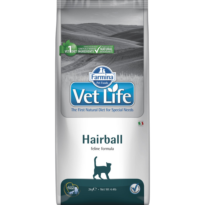 Сухой корм Farmina Vet Life Hairball Feline диета для выведения шерсти из желудка кошек 2кг