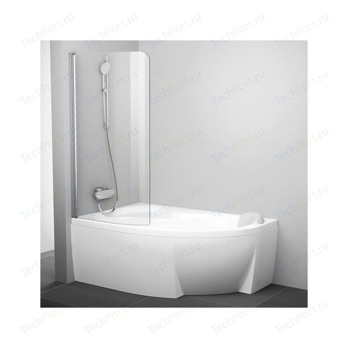 Шторка на ванну Ravak Chrome CVSK1 85 Rosa 140/150 L прозрачная, хром, левая (7QLM0C00Y1)