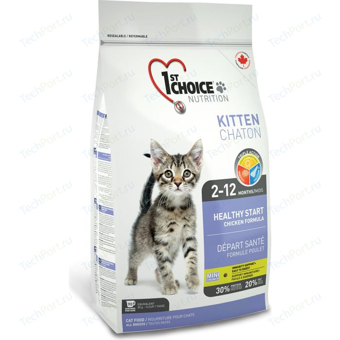 Сухой корм 1-ST CHOICE Kitten Healthy Start Chicken Formula с курицей для котят 5,44кг (102.1.203)