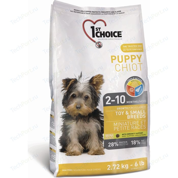 Сухой корм 1-ST CHOICE Puppy Growth Toy & Small Breeds Chicken с курицей для щенков мелких пород 2 до 10 месяцев 1кг (102.301)