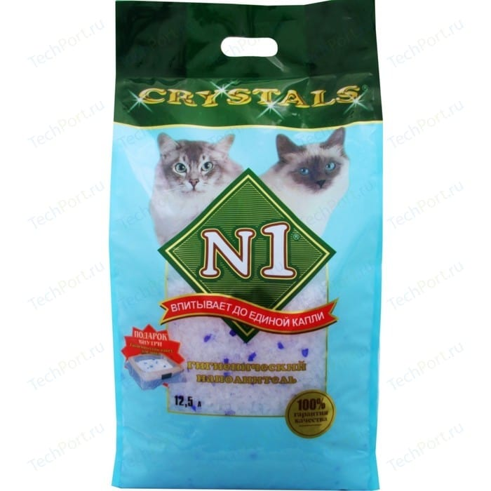 Наполнитель N1 Crystals впитывающий силикагель для кошек 12,5л (92205Н)