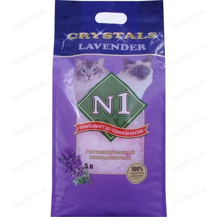 Наполнитель N1 Crystals Lavender впитывающий силикагель c ароматом лаванды для кошек 5л (92209)