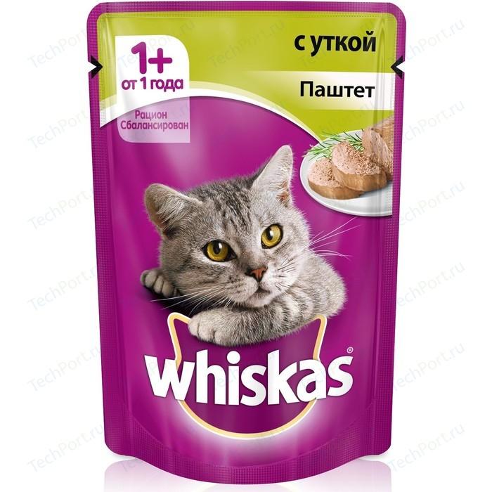 Паучи Whiskas паштет с уткой для кошек 85г (10156258)