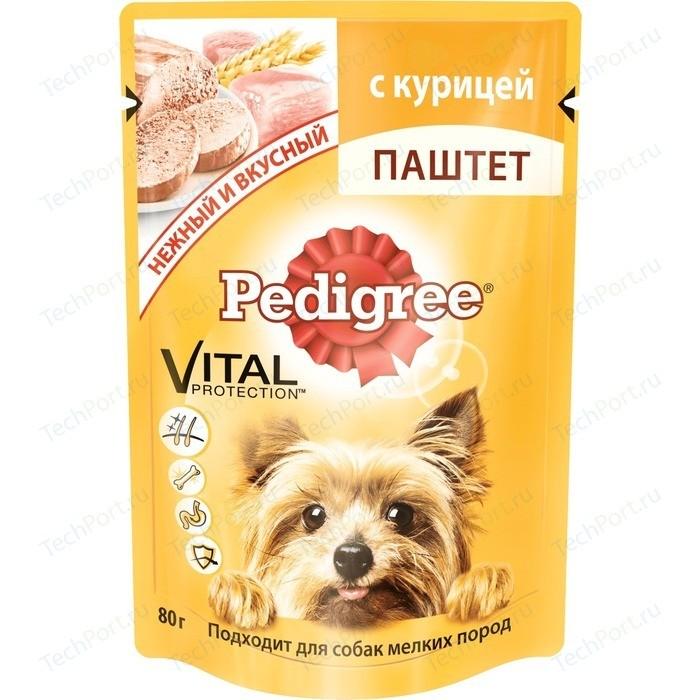 Паучи Pedigree Vital Protection паштет с курицей для собак мелких пород 80г (10131650)