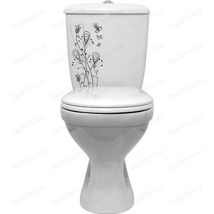 Унитаз с бачком Оскольская керамика Суперкомпакт декор цветы (4631111132043)