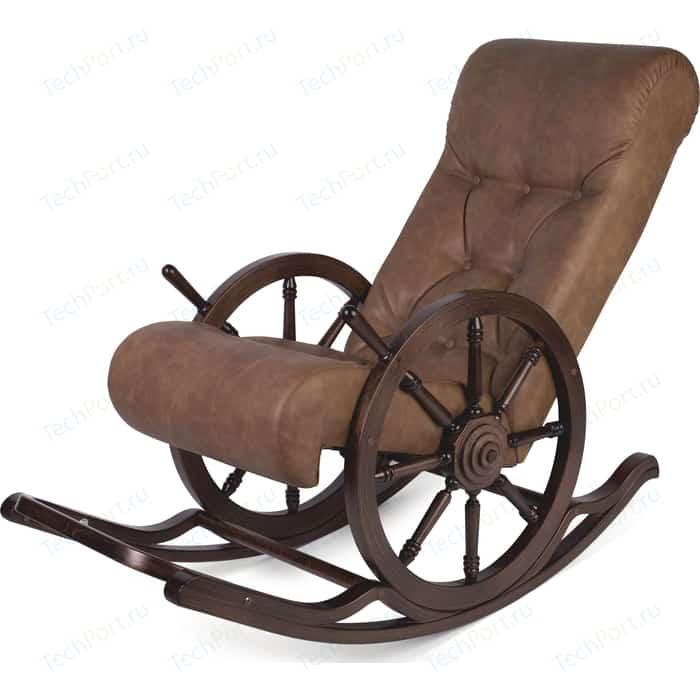 Кресло-качалка Мебелик Штурвал Тенария 4 эко-кожа темно-коричневый