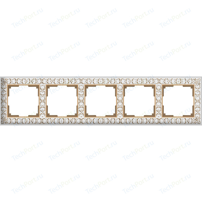 Рамка Werkel Antik на 5 постов белое золото WL07-Frame-01 рамка werkel antik жемчужный wl07 frame 04