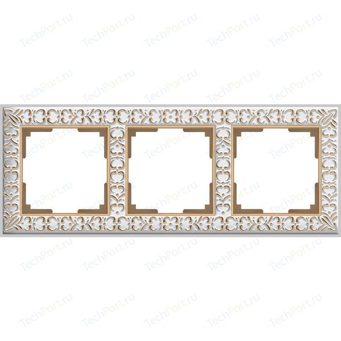 Рамка Werkel Antik на 3 поста белое золото WL07-Frame-01 рамка werkel antik жемчужный wl07 frame 04