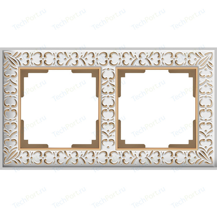 Рамка Werkel Antik на 2 поста белое золото WL07-Frame-01 рамка werkel antik жемчужный wl07 frame 04