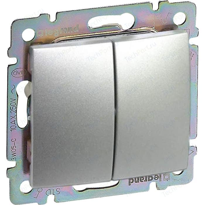 Выключатель двухклавишный Legrand Valena Classic алюминий 770105