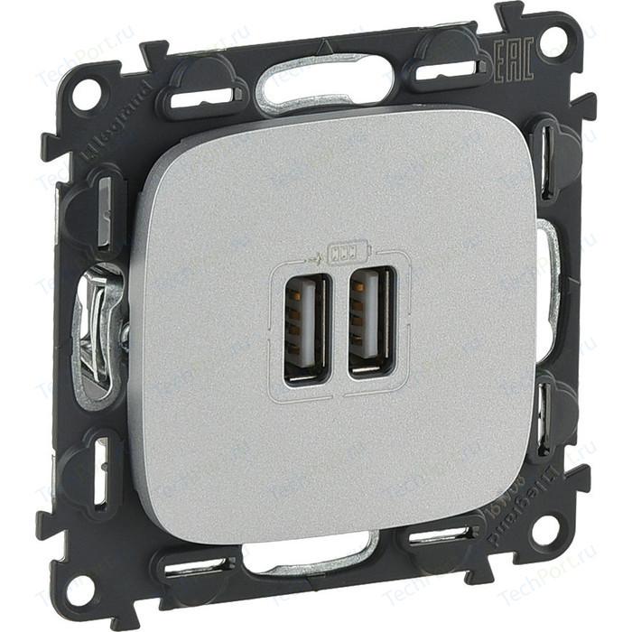 Розетка Legrand USB двойная Valena Allure 240V/5V 1500mA алюминий 754997