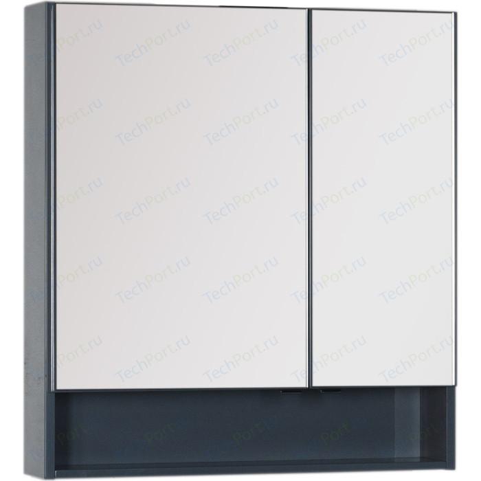 Зеркальный шкаф Aquanet Виго 80 сине-серый (183362)