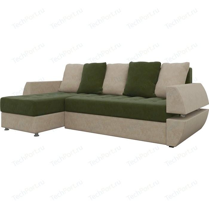 Диван угловой Мебелико Атлант УТ микровельвет зелено-бежевый левый диван угловой мебелико гранд микровельвет бежевый левый