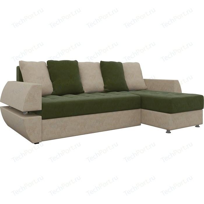 Диван угловой Мебелико Атлант УТ микровельвет зелено-бежевый правый