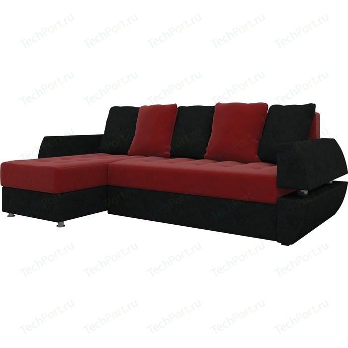 Диван угловой Мебелико Атлант УТ микровельвет красно-черный левый