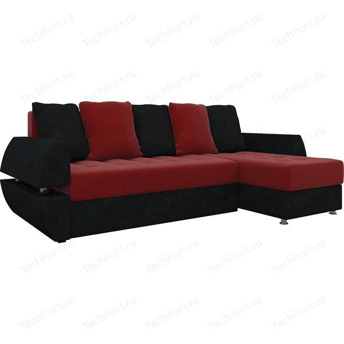 Диван угловой Мебелико Атлант УТ микровельвет красно-черный правый