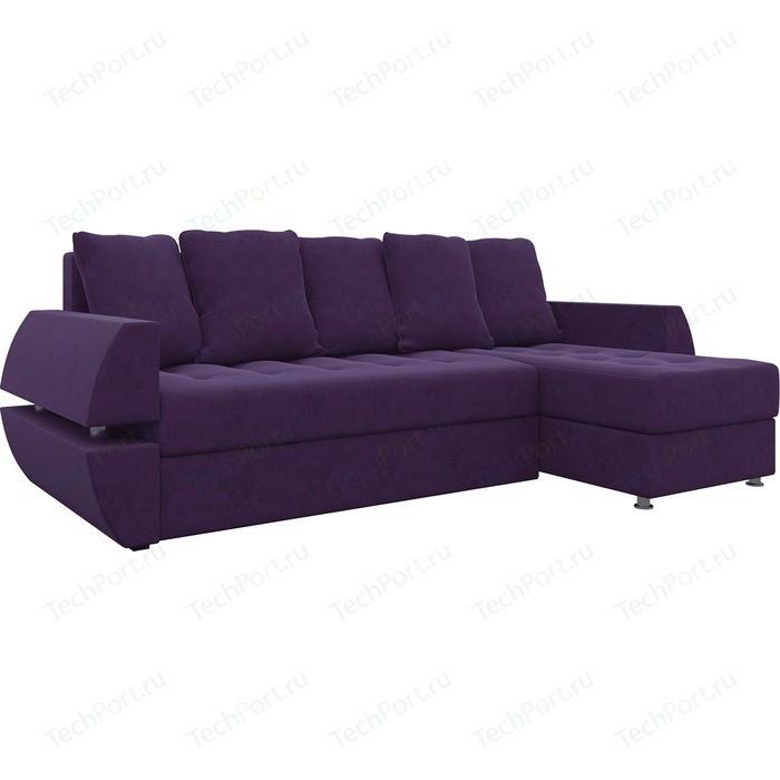 Диван угловой Мебелико Атлант УТ микровельвет фиолетов правый
