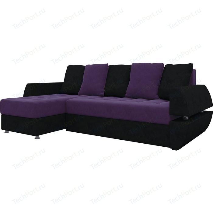 Диван угловой Мебелико Атлант УТ микровельвет фиолетово-черн левый