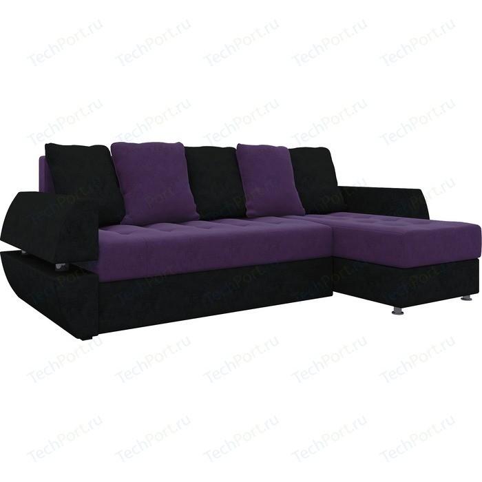 Фото - Диван угловой Мебелико Атлант УТ микровельвет фиолетово-черн правый ут 00019090