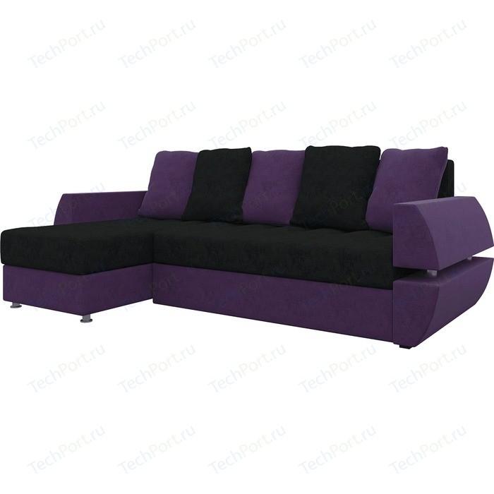 Диван угловой АртМебель Атлант УТ микровельвет черно-фиолетов левый диван угловой артмебель атлант ут микровельвет черно фиолетов правый