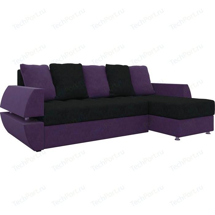 Фото - Диван угловой Мебелико Атлант УТ микровельвет черно-фиолетов правый ут 00019090