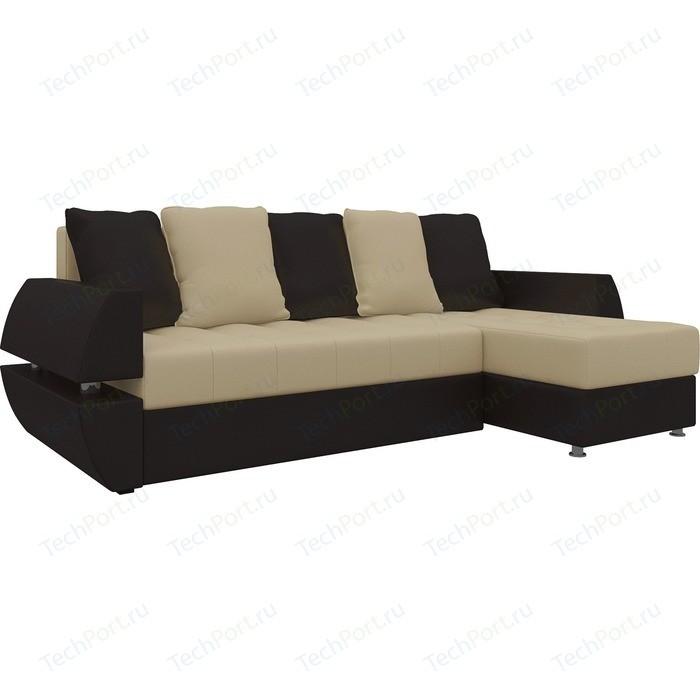 Фото - Диван угловой Мебелико Атлант УТ эко-кожа бежево-коричн правый диван угловой мебелико комфорт эко кожа бежево коричн левый