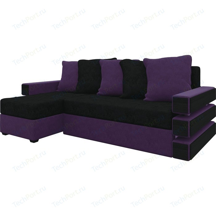 Диван угловой АртМебель Венеция микровельвет черно-фиолетов левый