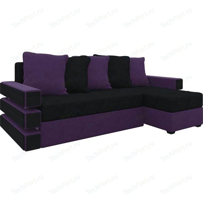 Диван угловой АртМебель Венеция микровельвет черно-фиолетов правый диван угловой артмебель атлант ут микровельвет черно фиолетов правый