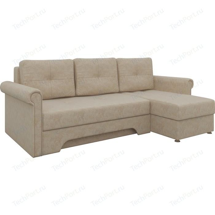 Диван угловой Мебелико Гранд микровельвет бежевый правый диван угловой мебелико гранд микровельвет бежевый левый