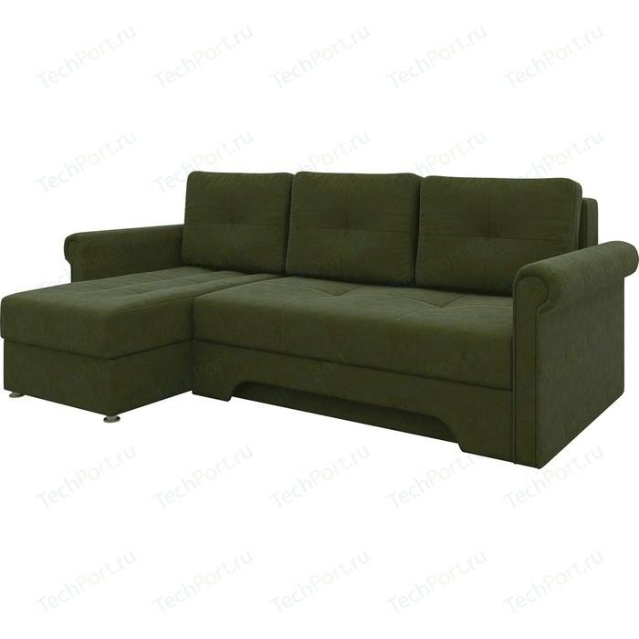 Диван угловой Мебелико Гранд микровельвет зеленый левый диван угловой мебелико гранд микровельвет бежевый левый