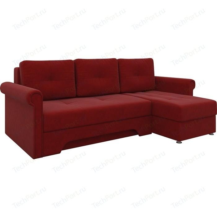Диван угловой Мебелико Гранд микровельвет красный правый