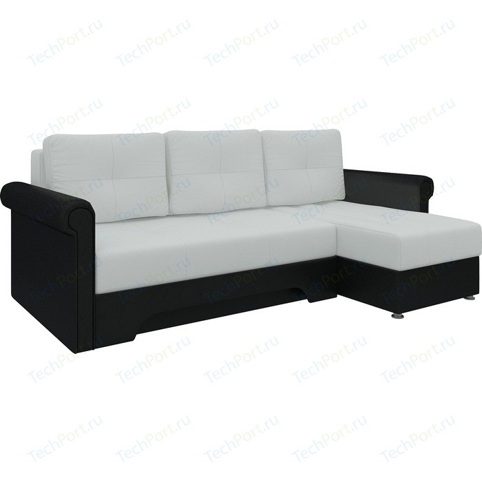 Диван угловой Мебелико Гранд эко-кожа бело-черный правый