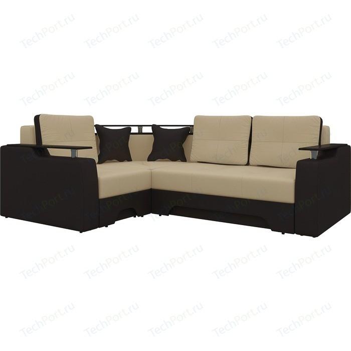 Фото - Диван угловой Мебелико Комфорт эко-кожа бежево-коричн левый диван угловой мебелико комфорт эко кожа бежево коричн левый